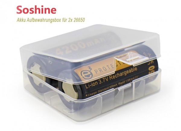 Akku-Aufbewahrungsbox für 2x 26650 transparent