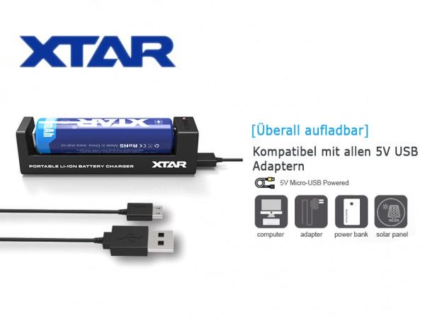 Xtar MC1 - Ladegerät für Li-Ion-Akkus 3,6V/3,7V inkl. USB Kabel